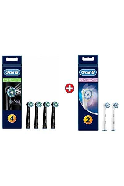 Oral-B Diş Fırçası Yedek Başlığı Cross Action Siyah 4'lü+sensi 2'li