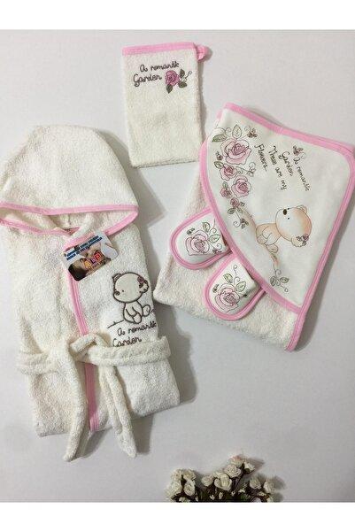 Gaye Kız Bebek Pembe Sevimli Ayıcık Bornoz Set