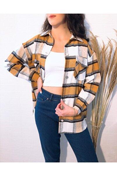 ElModa Boutique Kadın Hardal Oduncu Gömlek Ceket