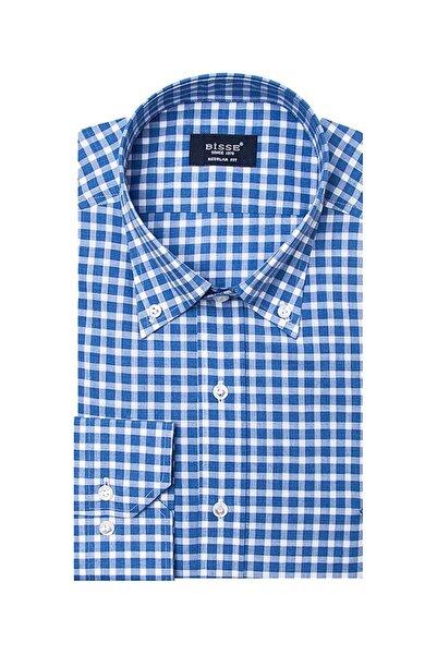 Bisse Erkek Mavi Uzun Kollu Yaka Düğmeli Spor Gömlek