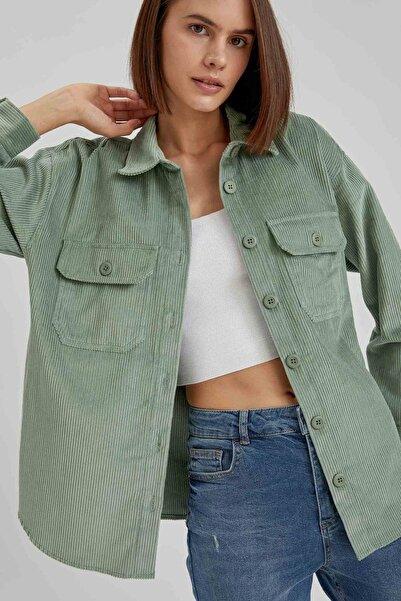 DeFacto Kadın Yeşil Çizgili Kadife Oversize Gömlek Ceket