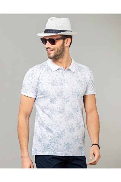 Tudors Erkek Mavi Polo Yaka Desenli Spor T-shirt