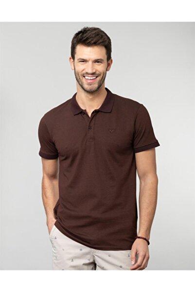 Tudors Erkek Kahverengi Polo Yaka Düz T-shirt
