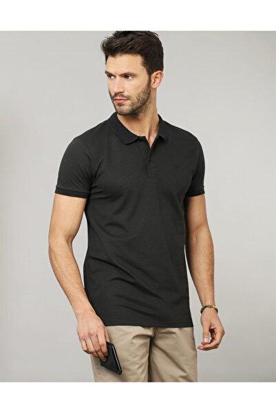 Tudors Erkek Siyah Slim Fit Polo Yaka Düz T-shirt