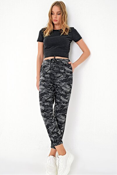 Trend Alaçatı Stili Kadın Haki Kamuflaj Desenli Paçası Lastikli İki İplik Eşofman Altı ALC-Y2933