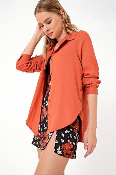 Trend Alaçatı Stili Kadın Kiremit Yanı Çıtçıtlı Pamuklu Dokuma Gömlek MDS-174-GML-RV-1