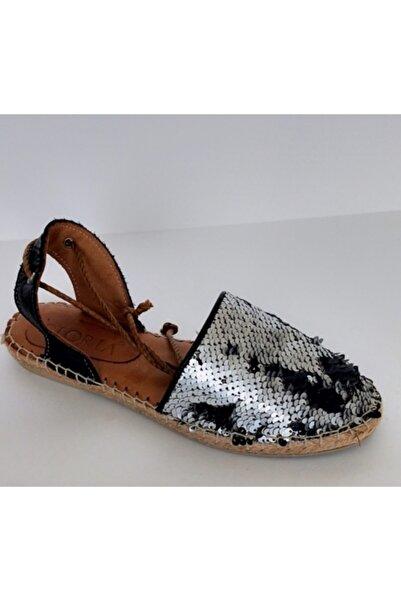 Gloria Kadın Siyah Gümüş Sandalet