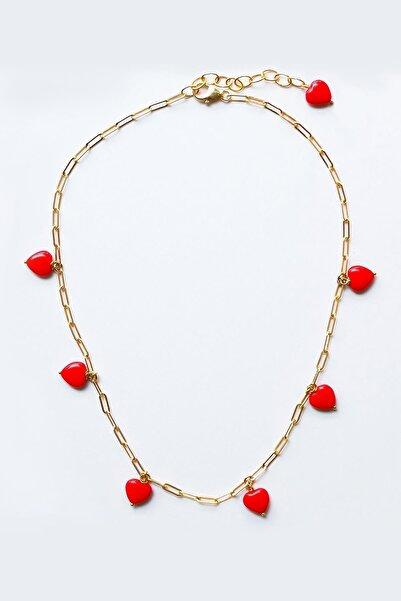 New Obsessions Kadın Sarı Kırmızı Kalpler Kolye