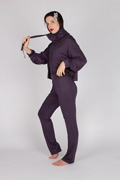 Hays Kadın Mor Boğaz Detaylı Uzun Pijama Takımı