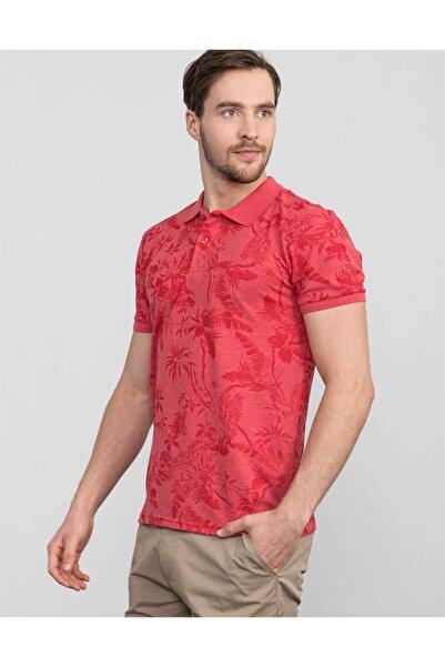 Tudors Erkek Kırmızı Slim Fit Polo Yaka Desenli T-shirt