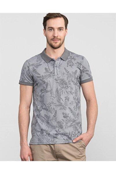 Tudors Erkek Gri Slim Fit Polo Yaka Çiçek Desenli T-shirt