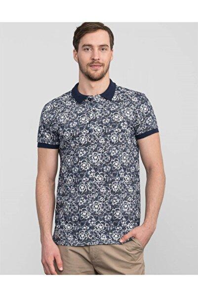 Tudors Erkek Gri Slim Fit Polo YakaÇiçek Desenli T-shirt