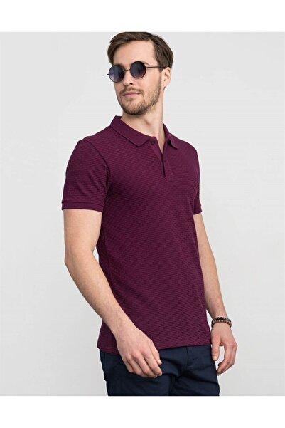 Tudors Erkek Mor Slim Fit Kendinden Desenli Pike T-shirt