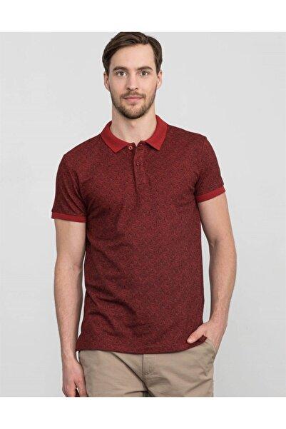 Tudors Erkek Bordo Polo Yaka Desenli T-shirt