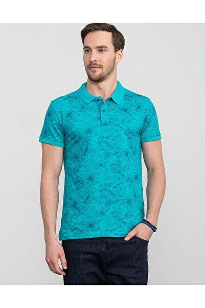 Tudors Erkek Turkuaz Slim Fit Polo Yaka Çiçek Desenli T-shirt