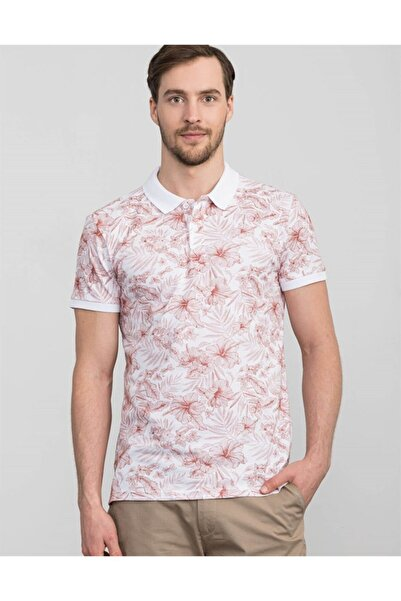 Tudors Erkek Krem Slim Fit Polo Yaka Çiçek Desenli T-shirt