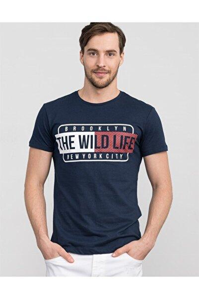 Tudors Erkek Lacivert Slim Fit Baskılı Bisiklet Yaka T-shirt