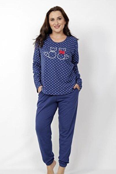 Kadın Lacivert Uzun Kol Pijama Takım