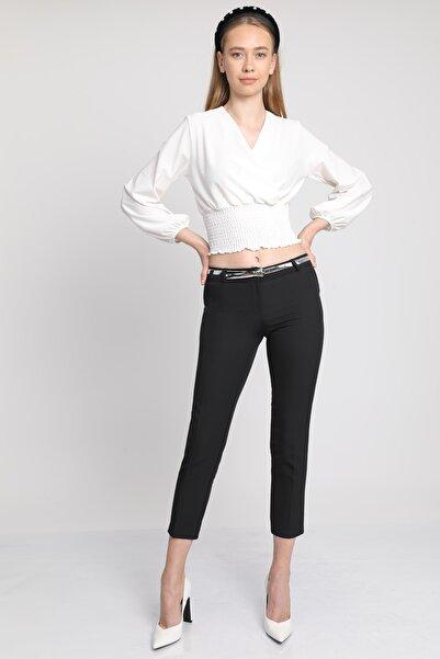 MD trend Kadın Siyah Kemerli Klasik Kumaş Pantolon