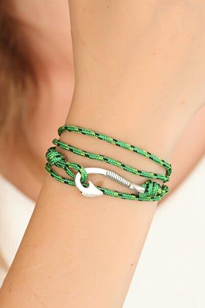 NEWOTO Yeşil Gümüş Metal Kancalı Bayan Çoklu Bileklik