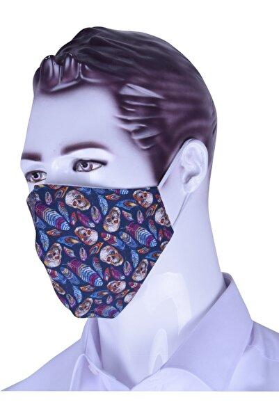 Ottomoda Unisex Kurukafa Desenli Antibakteriyel Yıkanabilir Maske