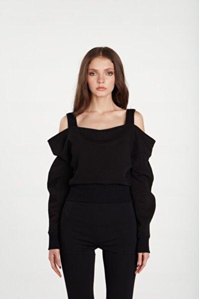 LOVEMETOO Kadın Siyah Omuz ve Kol Detaylı Bluz
