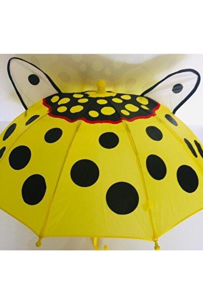 istocyapimarket Sarı  Kulaklı Benekli Desenli  Dekoratif Süs Şemsiye