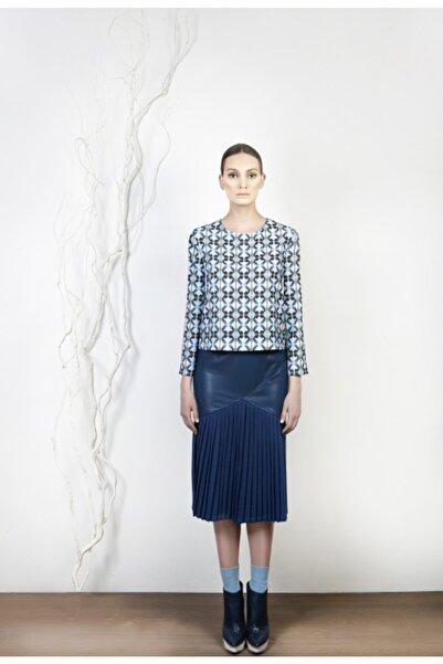 Meltem Özbek Kadın Mavi Desenli Bluz