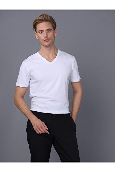 Basics&More Erkek Beyaz V Yaka T-Shirt