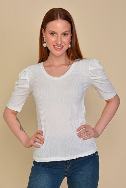 Mossta Kadın Beyaz Karpuz Kol Kaşkorse Bluz