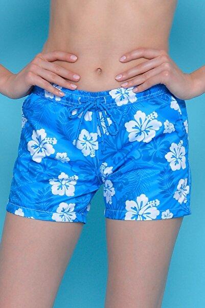 Mossta Kadın Mavi Çiçekli Deniz Şortu