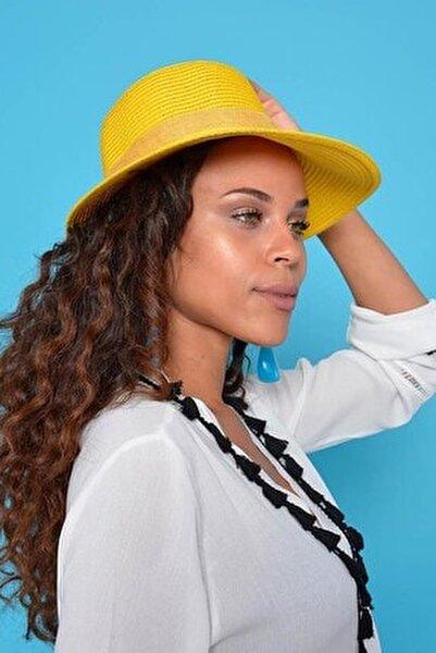 Kadın Sarı Hasır Şapka