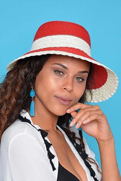Mossta Kadın Kırmızı Beyaz Hasır Şapka