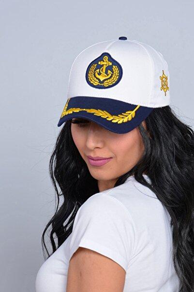 Mossta Unisex Beyaz Kaptan Tasarım Şapka