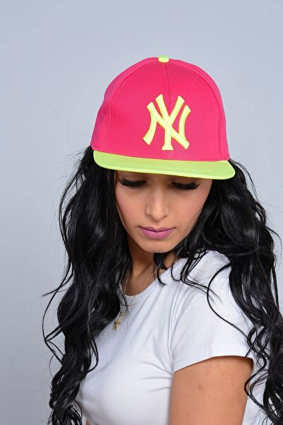 Mossta Kadın Pembe New York NY Baskılı Snapback Kep Şapka