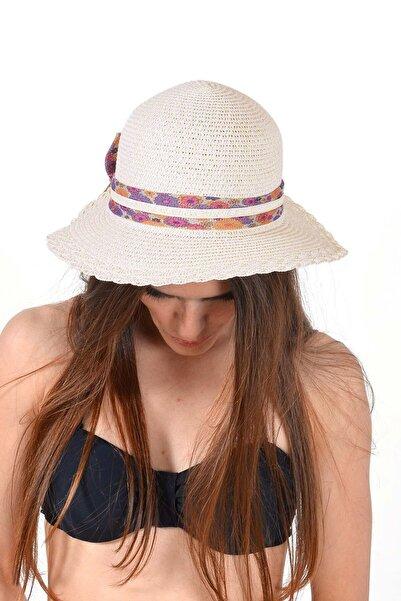 Mossta Kadın Bej Çiçek Detay Hasır Şapka