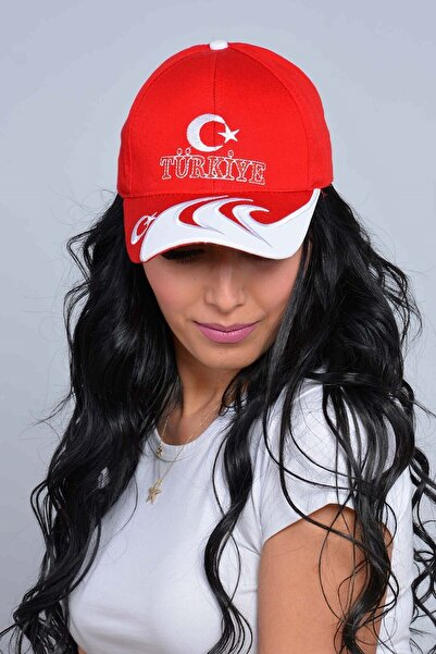Mossta Unisex Kırmızı Türkiye Nakışlı Ay Yıldız Şapka