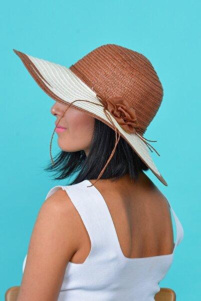 Mossta Kadın Kahve  Çiçekli Hasır Şapka