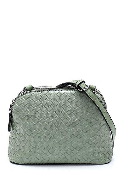 Derimod Kadın Yeşil Örgü Detaylı Çapraz Çanta