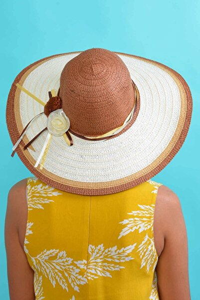 Mossta Kadın Kahve Çiçek Detaylı Hasır Şapka