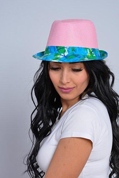 Mossta Kadın Pembe Palmiye Şeritli Hasır Şapka