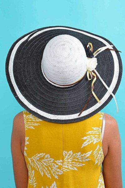 Mossta Kadın Siyah Çiçek Detaylı Hasır Şapka