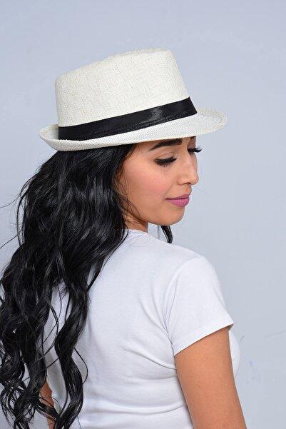 Mossta Kadın Ekru Şeritli Hasır Şapka