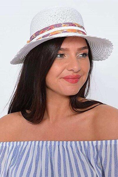Mossta Kadın Beyaz Hasır Şapka