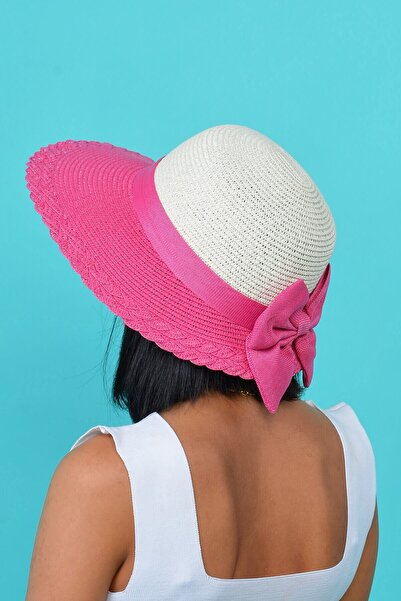 Mossta Kadın Fuşya Fiyonk Detaylı Hasır Şapka