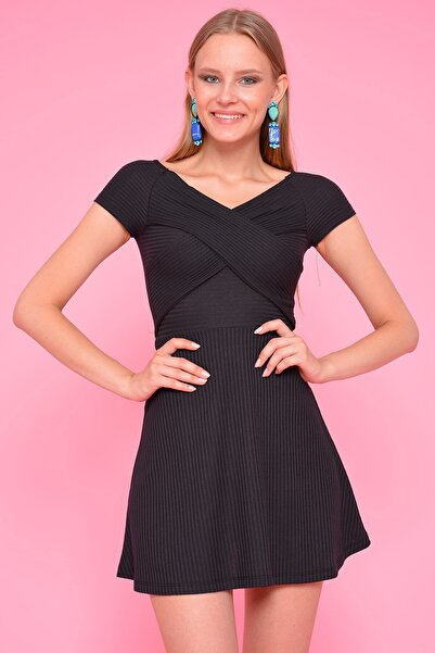 Mossta Kadın Siyah Bel Dekolteli Kaşkorse Elbise