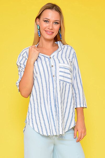 Mossta Kadın Beyaz Cep Detaylı Çizgili Gömlek