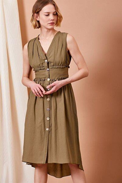 Mossta Kadın Haki Korsajlı Düğmeli Elbise