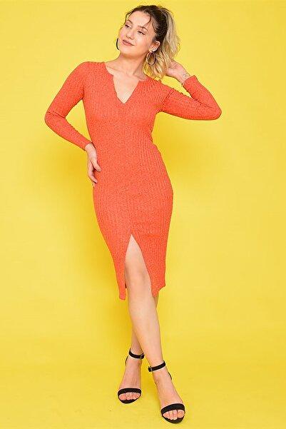 Mossta Kadın Turuncu Yırtmaçlı Triko Elbise