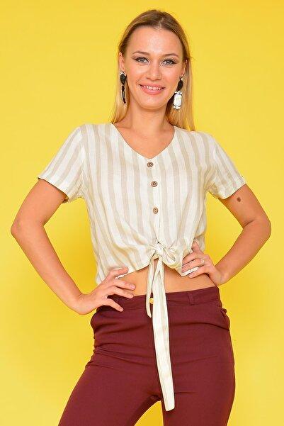 Mossta Kadın Bej Bağlamalı Gömlek Bluz